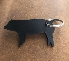 Genuine Leather Show Pig Hog Key Ring Custom Made Black Keyring Keychain