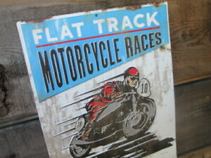 FLAT TRACK MOTORCYCLE RACES Metal Display  Harley Scout Vintage Style  MAN CAVE