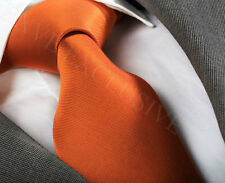 ORANGE FINE RIB SILK TIE & HANKY  ITALIAN DESIGNER Milano Exclusive