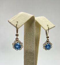 Solid 14kt Yellow Gold Colored Stone Earrings