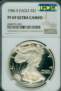 1986-S AMERICAN SILVER EAGLE  NGC PF-69 UCAM MAC UHcan ULTRA HEAVY CAM SPOTLESS*