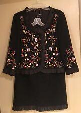RICKIE FREEMAN TERI JON Ladies 2-Pc Black Embroidered Wool Skirt Suit~Sz-14(31W)