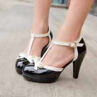 Womens Lolita T-Strap Buckle High Heel Bowknot Pumps Mary Jane Shoes All AU Sz