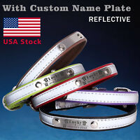 Personalized reflective Leather Dog Collar with name plate XS S M L XXL
