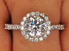 585er Solide Echt Weiß Gold 2,55 Carat Runden Form Solitär Hochzeits Ring