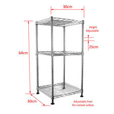 Real Chrome Shelf 64 x 30 x 30 cm Wire Rack Metal Steel Kitchen Garage Shelving