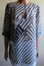 THEORY Small Black White Semi Sheer 3/4 Sleeve Keyhole Neck Silk Tunic Blouse