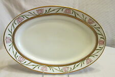 Old Porcelain Thun Austira Hand Painted Pink Tulip Flowers Oval Serving Platter