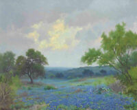 Texas Bluebonnets Landscape Oil painting Giclee Art Wall Decor Printed on canvas
