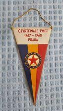 *** RARE *** VINTAGE REAL MADRID - SPARTA PRAHA 1967-1968 football pennant flag