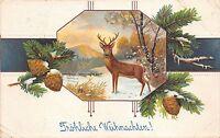BG20379 fir branch deer cerf embossed  christmas weihnachten  germany