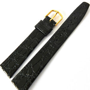 18mm BLACK CROC GRAIN GENUINE LEATHER WATCH STRAP. GLOSSY FINISH GOLD BUCKLE