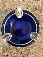 VINTAGE COBALT BLUE GLASS SILVER METAL Cutwork TRIM ASHTRAY Hong Kong