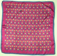 Vintage POCKETSQUARE Scarf Hankie Pink Flower teal Blue bright Acetate ITALY