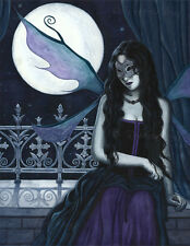 Fairy Art ORIGINAL PAINTING Gothic Mask Masquerade moon Blue Purple Teal Night