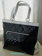 Lancome Glossy Quilted Contrasting Black White Tote Bag