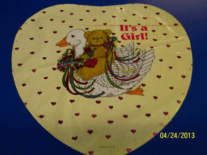 """RARE Lucy Riggs It's a Girl Baby Shower Party Decoration Foil 18"""" Mylar Balloon"""