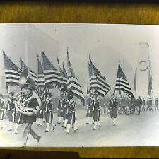 Vtg Magic Lantern Glass Slide Photo Military Band Women US Flag Carriers Tuba