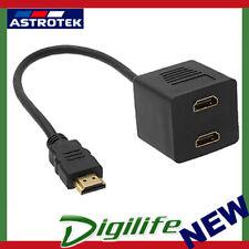 Astrotek HDMI Splitter Cable 15cm v1.4 Male to 2x Female Amplifier Duplicator