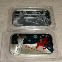 Set Of 2 Good Conquers Evil Devil VS God .999 Silver Enameled Art Bars CMG Mint
