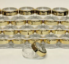 100 Cosmetic Jars Empty Beauty Makeup Containers Gold Acrylic Caps 10 Gram #3012