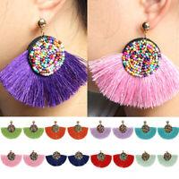 Bohemia Women Tassel Thread Fan Earrings Seed Beads Drop Dangle Earrings Jewelry