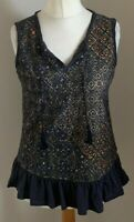 Next Size 10 Ladies Blue Top With Multicoloured Print Detail On The Front