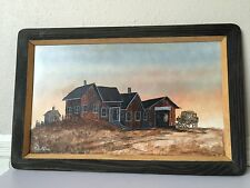 OIL PAINTING ON BOARD WESTERN THEME in WOOD FRAMED ARTISTS SIGNED & DATED