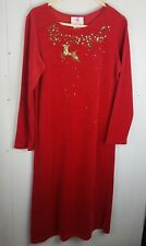 Quacker Factory Sparkle Velour Flying Reindeer Long Dress Size S Red