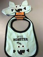 Halloween Baby Bib and Headband Set Little Monster NEW