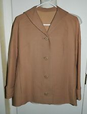 Vtg Jablow Original Camel Tweed Lined Blazer Jacket Coat Size 12