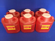 6 Qty New Bd Sharps 69 Quart Biohazard Needles Collector Container Red 305489