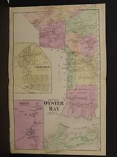 New York Long Island Map 1873 Oyster Bay, Farmingdale, Double Page N3#66