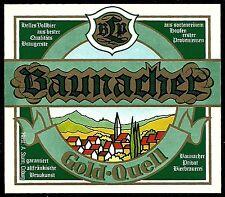 """ALT ! Bieretikett """"Baunacher Gold-Quell"""" : Brauerei Sturm † 1991 Coburg Franken"""