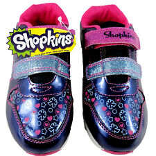 Girls Shopkins Trainer Shoes Navy Pink Soft Close Slip On Shoes 7-1