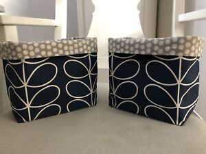 Handmade Orla Keily Navy Blue Stem Print Fabric Lined Storage Baskets Set Of 2