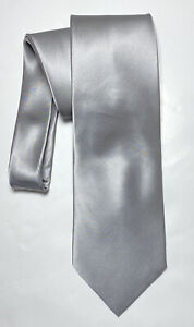 DONALD TRUMP SILVER TIE 100% SILK SOLID 56''/4'' NEW WITH TAGS