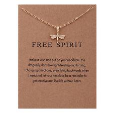 "Reminder ""Free Spirit"" Sparkling Dragonfly Pendant Necklace YS162"