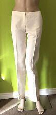 Etro Ivory 100% Silk Straight Leg Dress Pants - Size 38 - US Size 4 - EUC