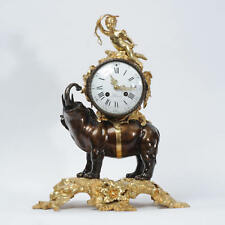 ELEPHANT AND CUPID, BRONZE AND ORMOLU ANTIQUE FRENCH CLOCK C1870 EXCELLENT RARE