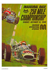 VINTAGE REPRODUCTION RACING POSTER 1968 MICHIGAN SPEEDWAY USAC INDY CAR