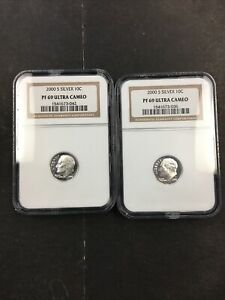 (2) NGC 2000 S PF 69 Silver Ultra Cameo Dime NO RESERVE!! CLEAN!