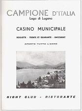 PUBBLICITA 1953 CAMPIONE D'ITALIA CASINO' LAGO LUGANO ROULETTE CARTE PANORAMA