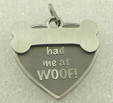 "Dog Bone Necklace ""Had me at Woof"" Stainless Steel Pendant Pet Rescue Black Cord"