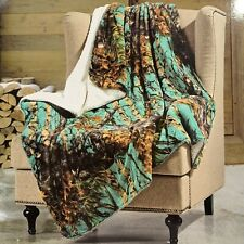 Teal Camo Faux Fur Sherpa Throw Blanket Camouflage Luxury Plush Soft Country New