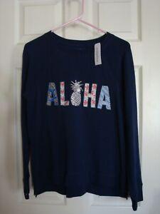 Tommy Bahama Women's Aloha Hawaii sequins beaded sweat shirt top Small  S/P
