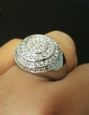 Zirconia Diamo Men's Pinky Ring 925 Silver 14K White Gold Finish 0.30 Ct Cubic