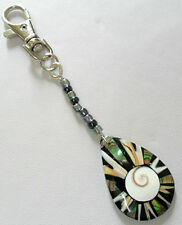 "Abalone + Shiva shell bag charm, 4.75"" long"