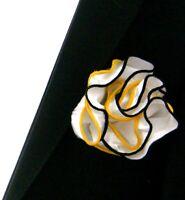 NEW - Antonio Ricci Double Color Pouf Pocket Square - Yellow & Black on White