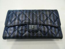 87bb00b8002f Chanel Quilted Reissued 2.55 Flap Trifold Long Wallet Metallic Navy Blue  Striped